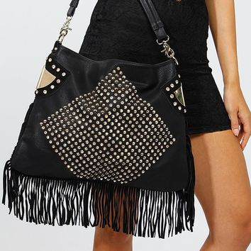 Pyramid Stud and Rhinestone Fringe Hobo Bag @ Cicihot Handbags online store sales:Women's handbag,Cheap handbags,Oversize handbag,Leather handbag,Handbag Purse,Leather tote,Suede Bag