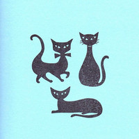 Mid Century, Rubber Stamp Cats, Trio of Hand Carved Purrrfect Little Pieces of Art, Three Individual Rubber Stamp Cats