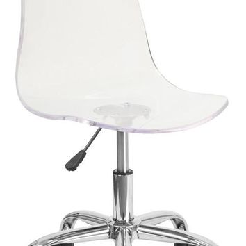 Ultra Modern Transparent Acrylic Task Chair with Chrome Base (Multiple Colors)