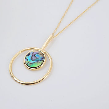 Rainbow Abalone Necklace - Genuine Paua Shell Pendant, Metal Circle Necklace, La