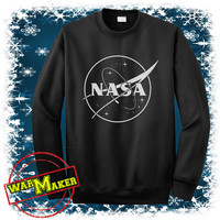 nasa logo sweatshirt crewneck nasa logo shirt nasa logo sweater black,white,sportgrey NS-2