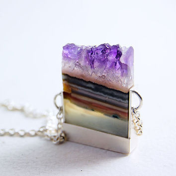 Slices  Amethyst Slice and Sterling Silver Necklace  by MarKhed