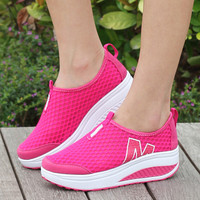 Height Increasing 2016 Summer  Women's Casual Shoes Sport Fashion Walking Shoes for Women Swing Wedges Shoes Breathable