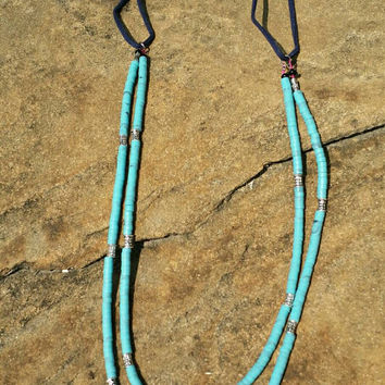 2 Strand Long Necklace in Turquoise, Slip on 35 Inch, Layered Handmade Southwestern Jewelry, Native American, Ready to Ship