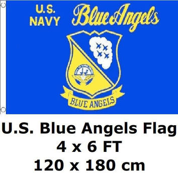 U.S. Blue Angels Flag 4` x 6` FT Polyester Large USA United States American Army Navy Naval Marines Flags and Banners