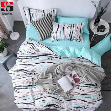 Sookie 3/4pcs Bedding Set Fresh Blue White Geometric Plaid Stripe Print Duvet Cover Set king queen size Brief Style Bed Linen