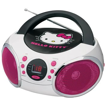 Hello Kitty Portable Stereo CD Boombox with AM/FM Radio Speaker