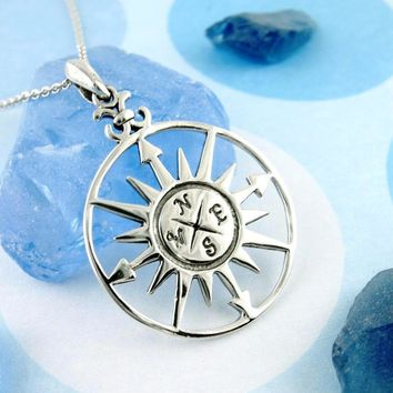 Starburst Compass Necklace With Arrows in Sterling Silver