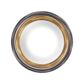 6100-029 Barcelona Composite Frame Convex Wall Mirror In Belgian Black And Gold - Free Shipping!