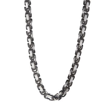 6mm Black & Silver Byzantine Chain
