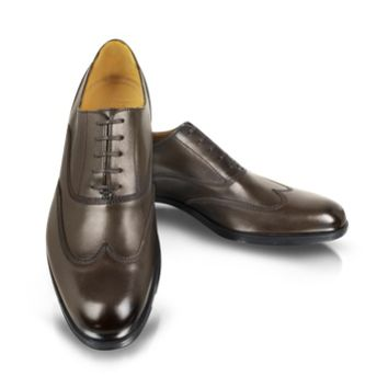 Moreschi Designer Shoes Brunei Brown Leather Wingtip Oxford Shoes