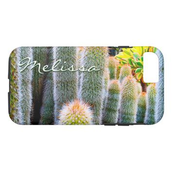 Soft green cacti photo custom name cell phone case