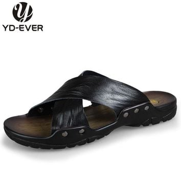 100% GENUINE LEATHER MEN SANDALS-handmade Summer fashion brand beach slippers Men's flip flops casual moccasin Soft Loafers 9