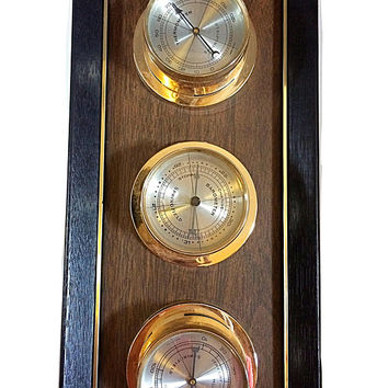 Vintage Barometer, Weather Station, Wall Thermometer, Wall Barometer, 3 Piece Weather Station, Indoor Thermometer, Indoor Barometer, Indoor