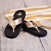 * Corkys Cushioned Flip Flop : Rose Gold