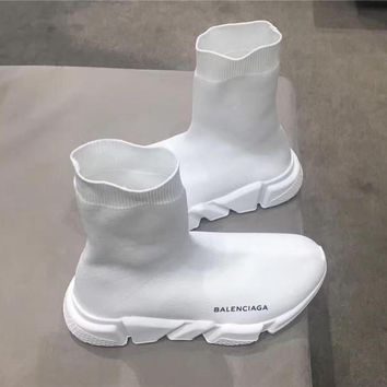 balenciaga black and white speed trainer with white textured sole 2