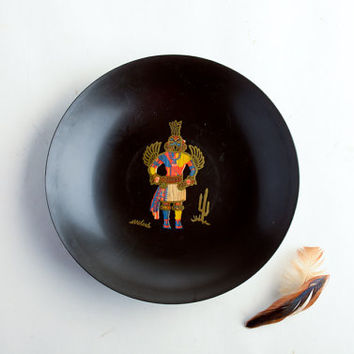 Mid-Century Couroc Kachina bowl – Southwestern décor – Hummingbird Kachina figure – Native American
