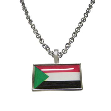 Thin Bordered Sudan Flag Pendant Necklace