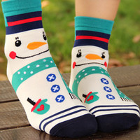White Contrast Smiling Snowman Knitted Socks