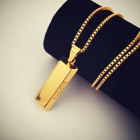 Boys & Men Fashion Hip Hop Supreme Gold Bullion Necklace