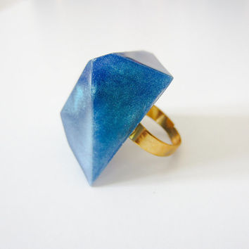 RESIN RING blu metallic DIAMOND . Blu green perlescent ring