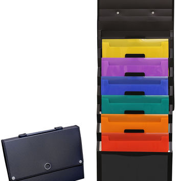 DecoBros Cascading Wall Mount Holder Organizer 6 Removable File Pockets Letter Size