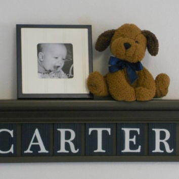 "Baby Boy Nursery Decor 24"" Brown Shelf 6 Wooden Wall Letters Navy Blue - Gift for CARTER"