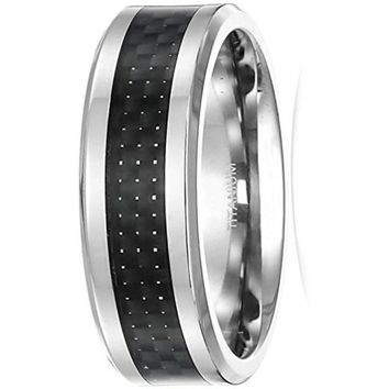 CERTIFIED 8mm Men's Titanium Thick Carbon Fiber Inlay Ring