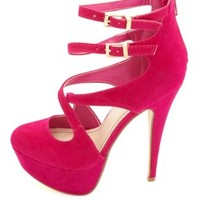 Anne Michelle Crisscrossing Strappy Platform Heels - Hot Pink