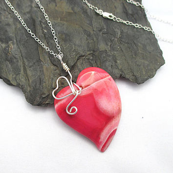 Pink Heart Necklace, Stone Heart Necklace, Dragon Veins Agate, Sterling Silver, Agate Heart Pendant, Wire Wrapped Jewelry