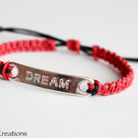 Dream Bracelet, Red Hemp Bracelet with Engraved Dream Tag, Macrame Charm Bracelet, Gift for Her
