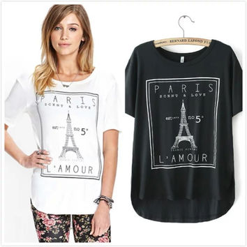 Paris Print Asymmetrical Casual T-Shirt
