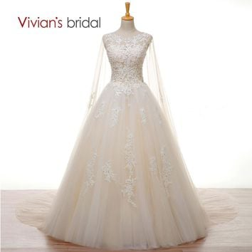 Bridal Crystal Pearls White Lace Wedding Dress with Long Cape A Line Wedding Gown