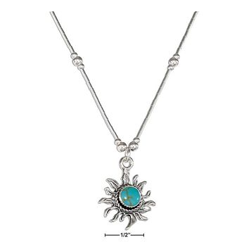 "STERLING SILVER 16"" SIMULATED TURQUOISE SUN NECKLACE ON LIQUID SILVER"