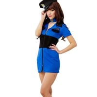 Sexy Police Officer zipper Jumpsuit erotic lingerie sex toys women's adult Cosplay uniform Policewomen Costumes outfit