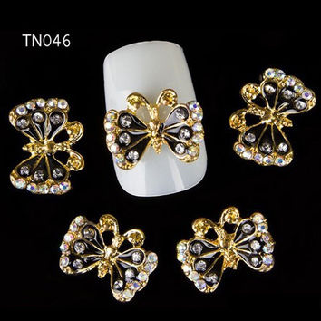 10 Pieces Rhinestones Butterfly Shape DIY Nail Art