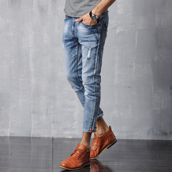 Men Denim Skinny Pants Slim Cotton Jeans [6528728323]