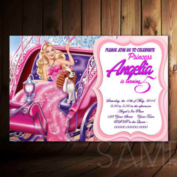 Barbie Princess Charm School Invitation Personalized, Barbie Princess Birthday Invitation