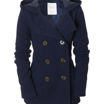 Aeropostale  Solid Hooded Pea Coat