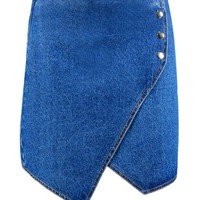 Amy Hanky Hem Popper Denim Skirt