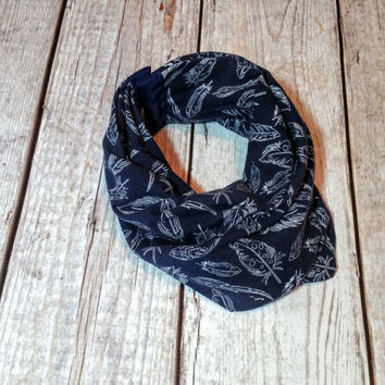Navy Feathers Infinity Scarf