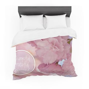 "Robin Dickinson ""Thankful, Grateful, Blessed"" Pink Maroon Photography Featherweight Duvet Cover"