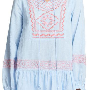 Hayden Embroidered Ruffle Hem Tunic