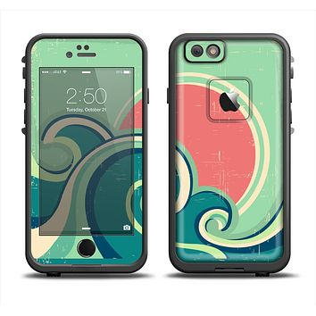 The Vector Retro Green Waves Apple iPhone 6 LifeProof Fre Case Skin Set