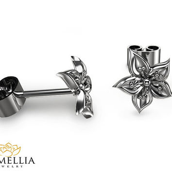 14K White Gold Flower Earrings Stud Earrings