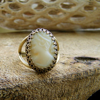White Milk Glass Cameo Ring. Vintage West Germany Cameo.