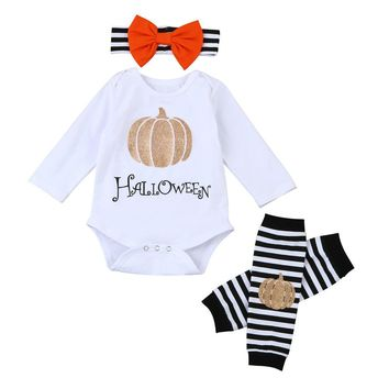 3pcs set Baby clothes Boys Girls Halloween Pumpkin Long Sleeve Rompers Leg Warmers Toddler Outfit Set Roupas Infantil