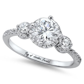 2CT Perfect Three Stone Journey Russian Lab Diamond Halo Promise Engagement Anniversary Wedding Ring