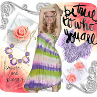 Tie Dye Dress Strapless with Ruffle in English Garden NEW