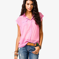 Flap Pocket Chiffon Shirt
